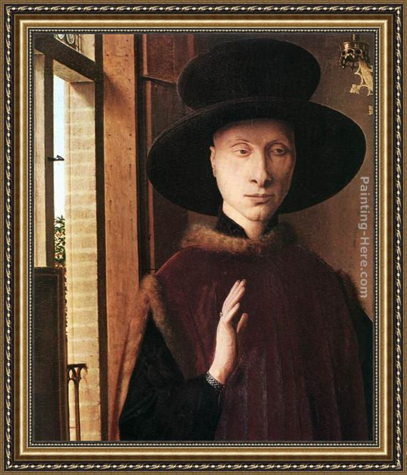 Jan van Eyck Portrait of Giovanni Arnolfini and his Wife [detail 1] Framed Painting